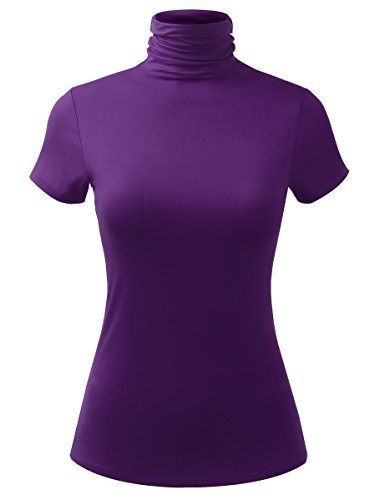 - ALL FOR YOU Women Short Sleeve Lightweight Jersey Turtleneck Top Eggplant XX-Large