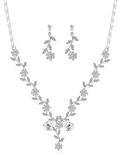 LOYALLOOK Silver Crystal Bridal Earring Necklace Jewelry Set Rhinestone Flower Leaf Dangle Costume Wedding Prom Jewelry Sets