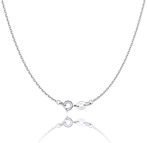 Jewlpire 925 Sterling Silver Chain Necklace Chain for Women Girls 1.1mm Cable Chain Necklace Upgraded Spring-Ring Clasp – Thin & Sturdy – Italian Quality 16/18/20/22/24 Inch
