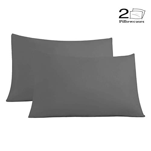 - Allo Pillow Cases, 100% Brushed Microfiber, Soft Breathable, Fade, Hypoallergenic Stain Resistant - 2 Pack (Gray, Queen)