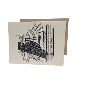 Silver Papery Sixth Street Notecards - Box of 10 -