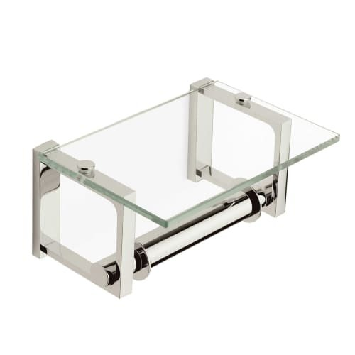 Frame Double Post Glass-Covered Toilet Tissue Holder in Polished Chrome by Ginger