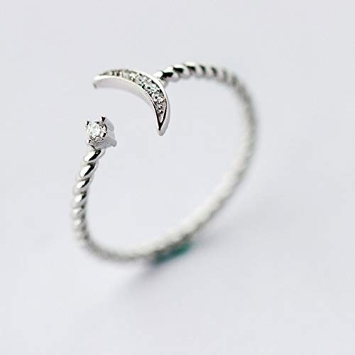 Statement Crystal Ring | Silver Jewelry White Twisted Roped Crescent Moon Star Rings | Women Adjustable Charming Gift