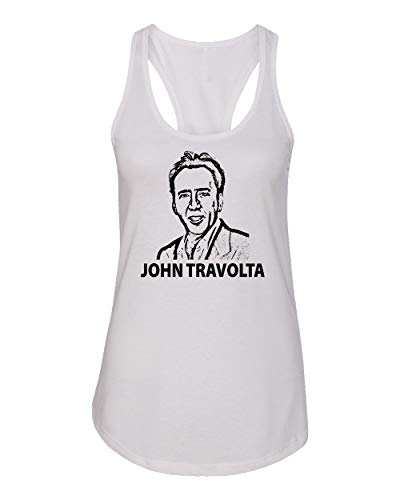 Baku Apparel Hollywood Actor Nicolas Cage Movie 'Face Off' Women's Racerback Tank Top (White, XX-Large)