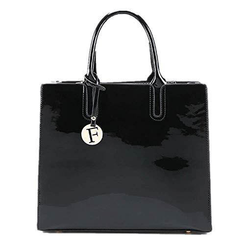 Handbag Shoulder Bag Simple Fashion Retro Patent Leather Handbag Shoulder Messenger Bag Black Cross-Body Bags