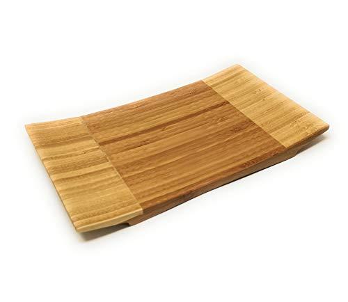 - ASIAN HOME Sashimi Sushi Bamboo Curve Serving Geta Plate - Japanese Style Tableware Bamboo Sushi Board Cutting Tray (L10.6