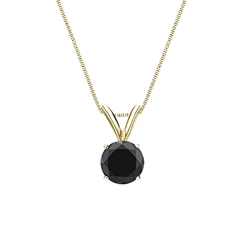 Diamond Wish 14k Yellow Gold Round Black Diamond Solitaire Pendant Necklace (3/4 carat TW, Black) 4-Prong Basket, 18-inch Box Chain
