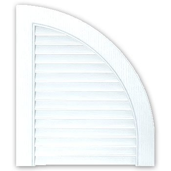 Builders Edge 14 In. x 17 In., Bright White, pair of Louvered Design Quarter Shutters