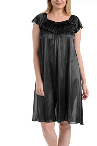 (Ezi Women's Satin Silk Ruffle Nightgown,Black,5X)