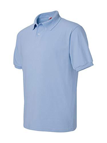Hanes Men's ComfortBlend EcoSmart Jersey Polo, Light Blue, XX-Large (Jersey Light Blue)