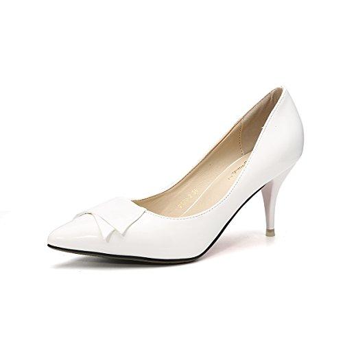 Dames Chaussures Pompes à Bout Pointu Aiguille Talon Moyen PU Transparent Slip On Antidérapant Noeud Papillon Élégant Cheville Féminins Simple Fashion Chaussure Rétro Blanc Eno7alAG