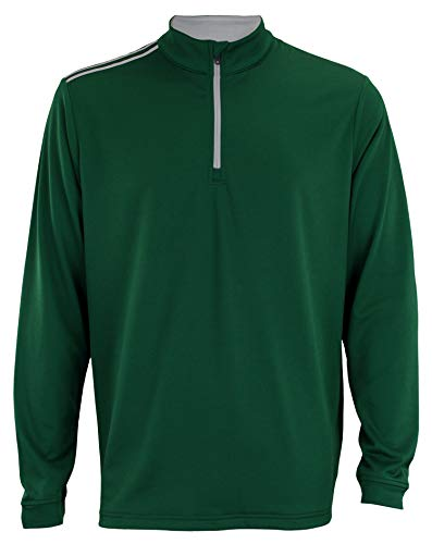 adidas Men's DKGRN Stripe 1/4 Zip Size L 1/4 Zip Stripe Sweater