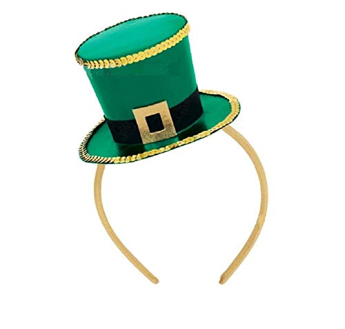 St Patrick's Day Top Hat Headband Shamrock Hat Hair Hoop Headpiece for St Patricks Day Novelty Fancy Dress Costumes Accessories]()
