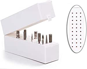 Lumcrissy Nail Drill Bits Holder 30 Holes Stand Displayer Organizer Nail Art Manicure Box
