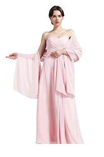 Sheer Soft Chiffon Bridal Women's Shawl For Special Occasions Ballet Pink