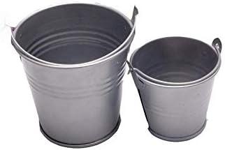 Fssh-mlx 1PCS鉢植えホームキャンディクラフト装飾小鉄バレルブリキミニバケツ6 * 4 * 5.5センチメートル (色 : 銀)