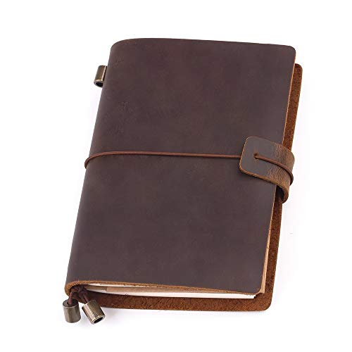 Leather Journal Refillable Travel Journal - Fine Brown Hand Made Leather Daily Notebook for Men & Women, Perfect to Write in, Small Size Easy for Carry, Best Gift for Travelers, 5 × 4 Inches (Small Leather Journal)