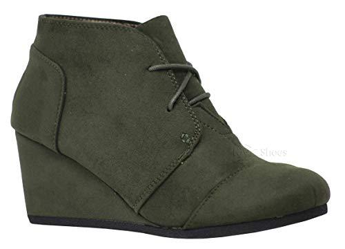 (MVE Shoes Women's Almond Toe Lace Up Hidden Wedge 2 3/4