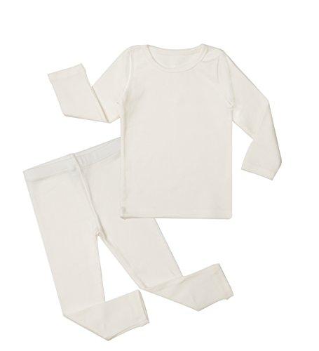 Baby Boys Girls Pajama Set 6M-8T Kids Cute Toddler Snug fit Pjs Cotton Sleepwear (Ivory Small/7-18Months)