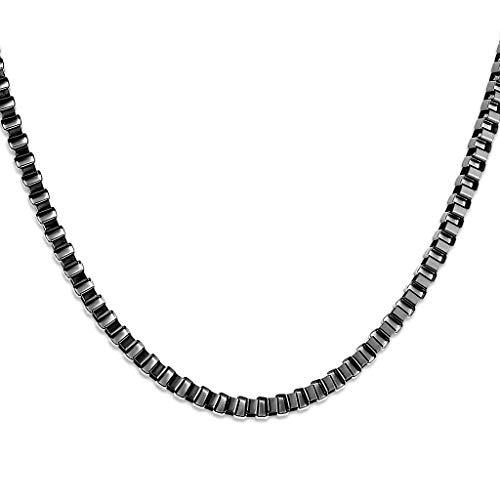 Black PVD Stainless Steel Box Chain Necklaces (Thickness: 0.16