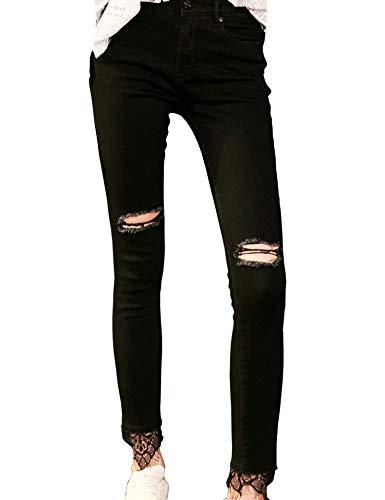 Elf Sack Mujer Vaqueros Ajustados Alta Cintura Rodilla Rasgada Dobladillo de Encaje Tramo Pantalones de Mezclilla Negro
