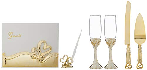 Fashion Craft 2537 Gold double heart themed wedding accessory set, One Size, Yellow
