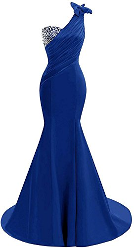 Lily Wedding Womens One Shoulder Satin Mermaid Prom Dresses 2018 Long Formal Evening Ball Gowns D44 Royal Blue Size ()