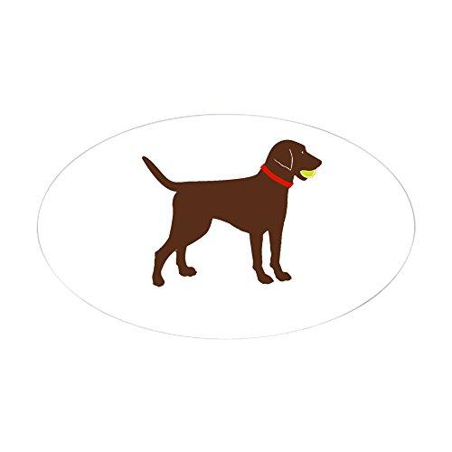 Labrador Chocolate Sticker (CafePress Labrador Fetch, Play Ball Chocolate Lab Sticker Oval Bumper Sticker, Euro Oval Car Decal)