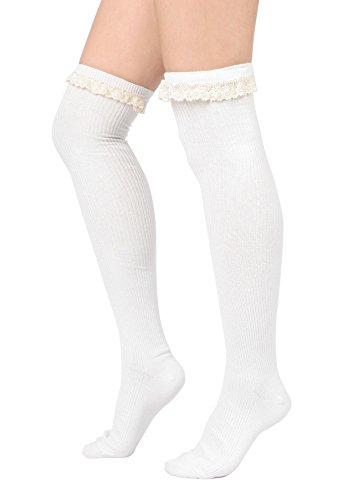 Women Lace Ribbed Cotton Socks