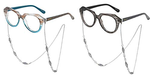- SOOLALA Striped Reading Glass Eyeglass Frame with Necklace Chains Retainer, BlueGray, 1.75