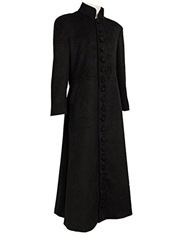 TISEA Halloween Men's Cosplay Costume Black Long Trench Wool Coat (M)