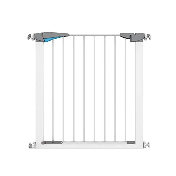 Pindia Safety Gate Stair Fence Barrier Railing for Kids/Baby/Pet - White,Blue