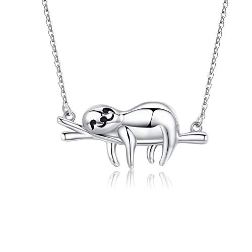 "Sloth Necklace Sterling Silver ""Slow Down Be Happy"" Slider Sloths Stuffed Animal Pendant Jewelry Charm Gifts for Women"