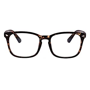 Agstum Wayfarer Plain Glasses Frame Eyeglasses Clear Lens (Brown flowers, 53)