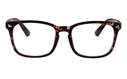Agstum Wayfarer Plain Glasses Frame Eyeglasses Clear Lens (Brown flowers, - Eyeglasses Wayfarer Oversized