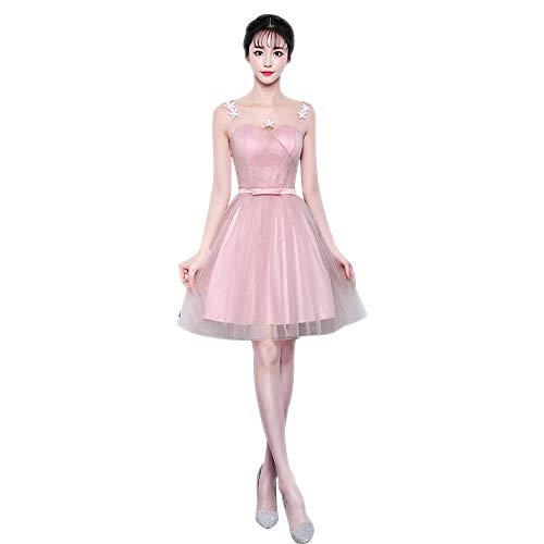 16ef180323b3 lungo Damigella Dazisen Vestito Sera Tulle Stile stile 3corto Da D onore  Abito Festa Principessa Rosa ...