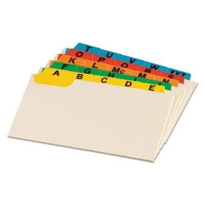 o Oxford o - Laminated Index Card Guides, Alpha, 1/5 Tab, Manila, 5 x 8, 25 per Set