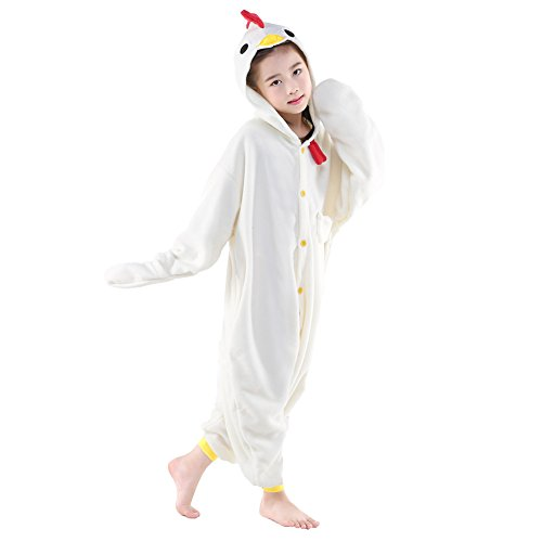 (NEWCOSPLAY Unisex Children Animal Pajamas Halloween Costume (125#, White)