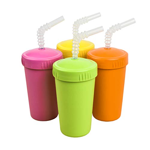 Re-Play Made in The USA 4pk Straw Cups with Reversable Reusable Straw for Baby, Toddler, and Child Feeding – Orange, Yellow, Lime Green, Bright Pink (Citrus+)