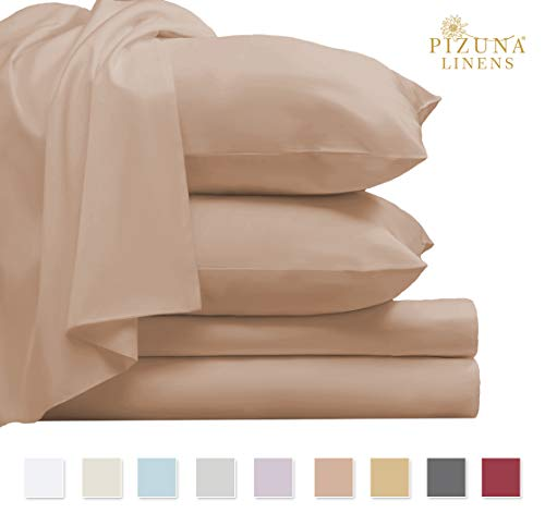 Pizuna 800 Thread Count Cotton King Mahogany Rose Sheets Set, 100% Long Staple Cotton Smooth Satin Bed Sheets, Thick Sheets fit Upto 17