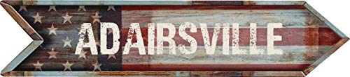 """ANY AND ALL GRAPHICS ADAIRSVILLE 4""""x18"""" American Flag Arrow Shaped Rustic Antique Vintage Look Composite Aluminum Novelty décor Sign."""