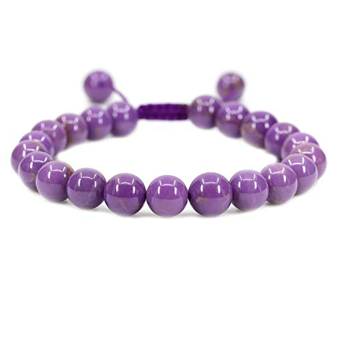 AMANDASTONES Natural A Grade Lavendar Phosphosiderite Gemstone 8mm Round Beads Adjustable Braided Macrame Tassels Chakra Reiki Bracelets 7-9 inch Unisex