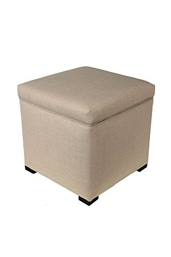 The Sole Secret Mini Shoe Storage Ottoman, 18.5 L x 19 H x 19 W, Beige