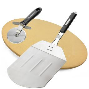 Cuisinart Grilled Pizza Pack includes ceramic pizza stone, stainless steel pizza peel & pizza cutter