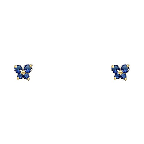 14k Yellow Gold Butterfly Stud Earrings with Screw (Yellow Gold Butterfly Earrings)