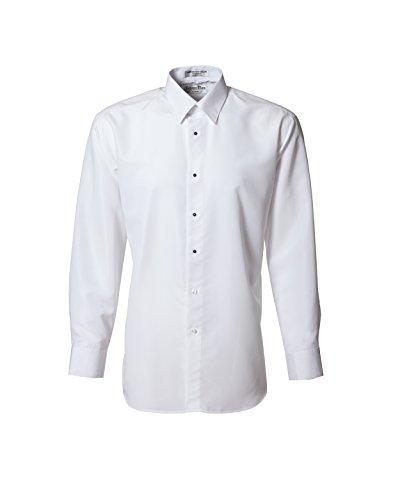 White Microfiber Non Pleated Standard Collar Tuxedo Shirt
