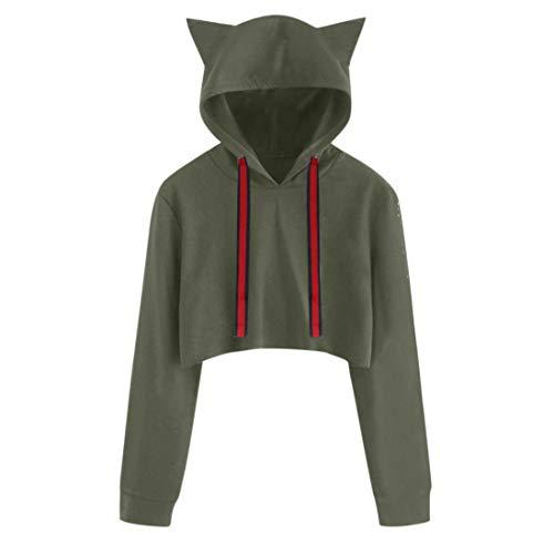 Women Cat Long Sleeve Hoodie Solid Sweatshirt Daoroka Ladies O Neck Drawstring Jumper Pullover Hooded Tops Fashion Winter Autumn Warm Causal Loose Blouse -