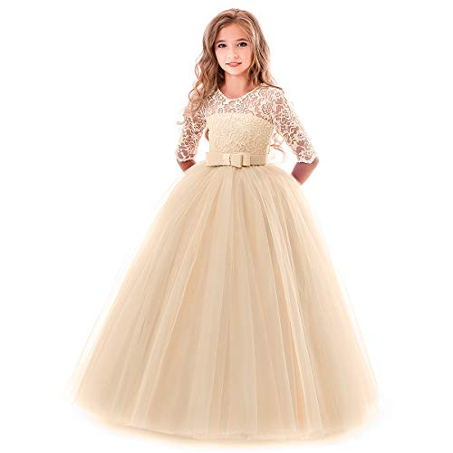 (Flower Girl Long Princess Dress Vintage Lace Maxi Gown Kids Formal Wedding Bridesmaid Pageant Tulle Dresses Little Big Girls Elegant Bowknot Dance First Communion Birthday Prom Dresses Champagne 11-12)