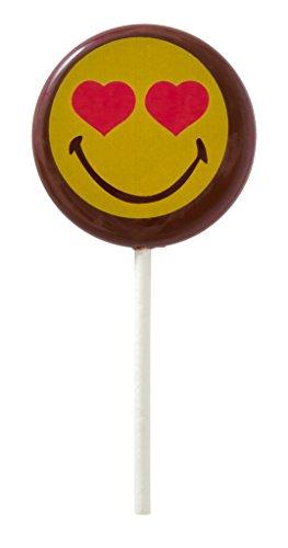 Smiley World Emoji Face Expressions Dark Chocolate Heart Lollipops Suckers