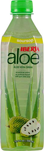 Iberia Aloe Vera Juice Drink, Soursop (Pack of 24) Aloin-Free, No Artificial Flavors Preservatives or Colors, Gluten Free, Vegan